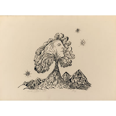 Tree and Hills 1944 - Roneo Print