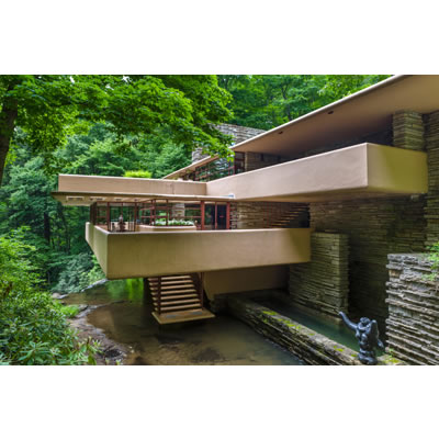 Fallingwater (1939), USA by Frank Lloyd Wright. Photo C Ian G Dagnall/Alamy Stock Photo