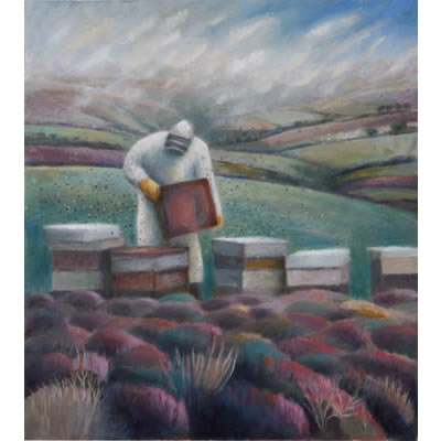 Checking the bees on Exmoor by Kate Lynch