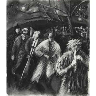 The Mummers arrive at the Wassail (charcoal drawing)