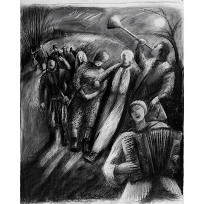 The Mummers arrive with Trumpet Blast (charcoal drawing)