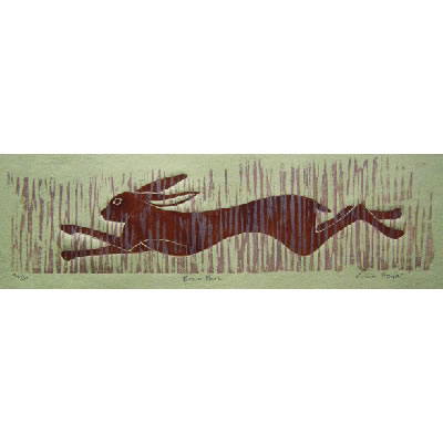 Brown Hare, linocut and driftwood print by Lisa Hooper