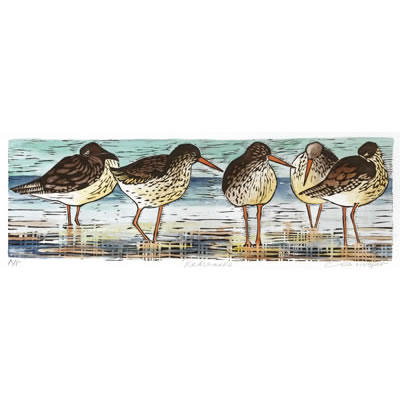 Redshanks, hand coloured woodcut by Lisa Hooper