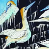 A Company of Gannets, hand coloured linocut by Lisa Hooper