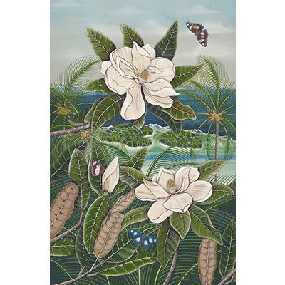 Magnolia and Butterflies Mo'orea