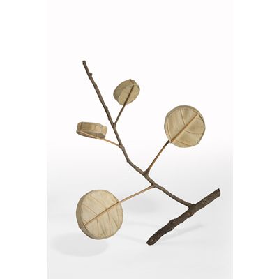 Drum Tree (42.5 H x 38 W x 7 D cm) magnolia leaves, cotton yarn, wood Photo: Simon Cook