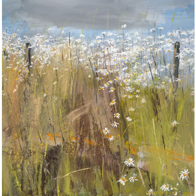 Daisy, Daisy - Acrylic and mixed media on linen, 90cm x 90cm