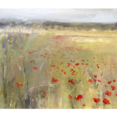 Poppy, Blowin' in The Wind - Acrylic and mixed media on linen, 70cm x 60cm