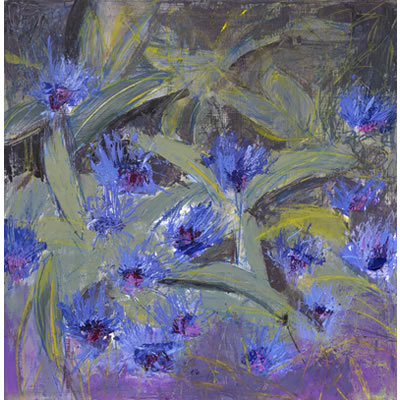 Cornflower Blue - Acrylic and mixed media on panel, 30cm x 30cm