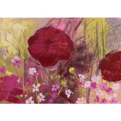 Peonies II - Acrylic and mixed media on linen, 27cm x 19.5cm