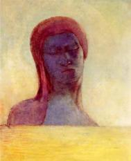 Les yeux clos ('Closed Eyes'), painting by Odilon Redon. From Odilon Redon 1840-1916, published by T