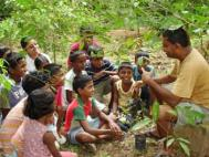 Biodiversity Lifeskills Foundation teaching children about the uses of medicinal plants. Photograph: