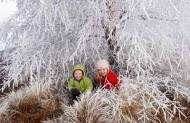 Children enjoying a hoar frost, near Twizel, South Island, New Zealand. Photograph: David Wall/Photo