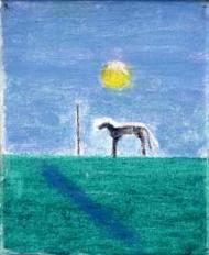 Bedlington Terrier, painting by Craigie Aitchison