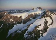 Sunset over snow-covered, 7,965-foot-high Mount Olympus in Washington, USA. Photograph: James P. Bla