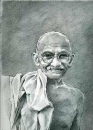 Mahatma Gandhi Drawing by Xanthe Mosley