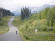 Kate Rawles' partner joins her on the Cassiar Highway, Alaska Photograph: Chris Loynes