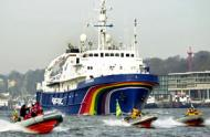 The new Greenpeace ship 'Esperanza' is escorted to the Port of Hamburg. Esperanza' is the biggest and most modern ship of the international Greenpeace fleet.