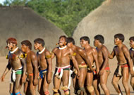 Warriors dancing, Xingu Indigenous Park, Mato Grosso State, Brazil Photograph: Sue Cunningham Photographic