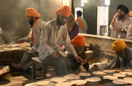 Free food kitchen for pilgrims, Golden Temple, Amritsar, Punjab, India. Photograph: Chris Caldicott/Axiom