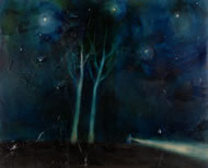 In Africa you need a torch light even though the stars are out, painting by Suzy Murphy