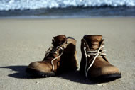 Walking Boots by the Atlantic ocean, Photograph: Courtesy Gregor Sieboeck