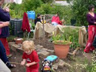 People enjoying the allotments. Photographs: courtesy Judy Wilkinson/ARI