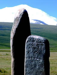 Two ancient Scythian standing stones dated III millennia B.C. still considered by modern Altaians as burial mounds of ancestors  Photograph: © FSDA/Chagat Almashev, 2009