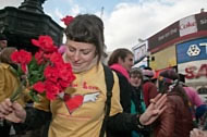 Reclaim Love St Valentines Day party at Picadilly Circus, 2009. Photograph: Courtesy Peter Marshall mylondondiary.co.uk