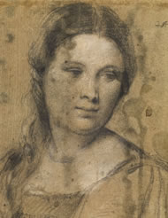 Titian, Study of a young woman c 1510. Photograph coutesy: The gabinetto Disegne E stampe Degli Uffizi