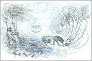 Wolfish Dog in a Winter Landscape. Illustration: Truda Lane