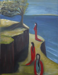 Pilgrimage (acrylic) by New Zealand artist Dee Guja. Part of a series called The Prophetess. Copyright: Dee Guja