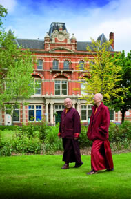 Director Lama Zangmo with Lama Yeshe outside the front of the Tibetan Buddhist Centre. Photograph by Gerry McCulloch