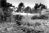 Original caravan and garden at Findhorn. Photo courtesy Findhorn Foundation