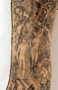 Garden, engraved lime wood, graphite, 2070x700mm (detail) by David Risk Kennard