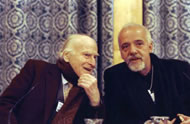 Yehudi Menuhin & Paulo Coelho at the World Economic Forum in Davos (1999) © www.weforum.org