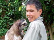 Keibo with a sloth in Costa Rica, 2007