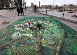 3D artwork created by The Woodland Trust on London's South Bank to announce a call for a new UK Charter for Trees / PA Images