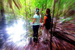 Karina with a colleague on location in the Amazon Rainforest © Karina Miotto