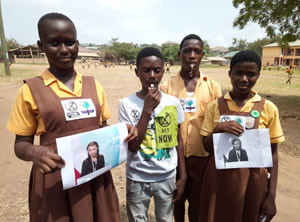 An Extinction Rebellion Friends of Greta Schools' Alarm Whistling Exercise was launched in some schools in Accra, Ghana, West Afrika on 18 January 2019