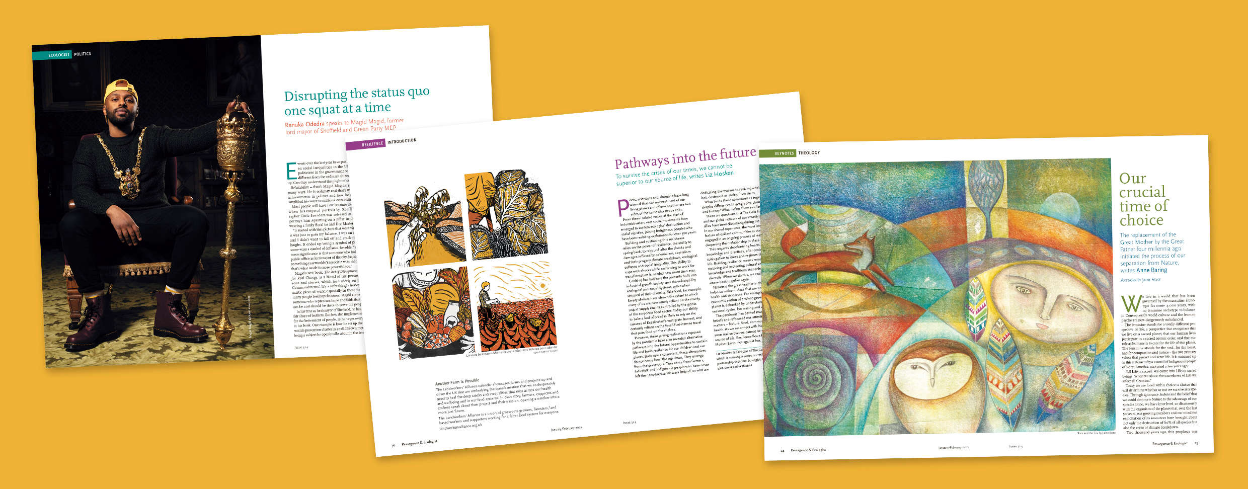 Images from Resurgence and Ecologist Magazine issue 324